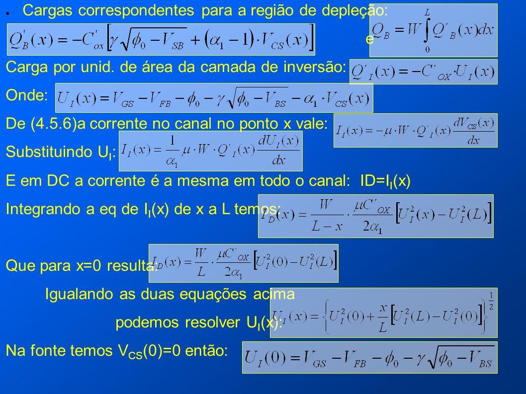 Cargas correspondentes para a região de depleção: e Carga por unid. de área da camada de inversão: Onde: De (4.5.6)a corrente no canal no ponto x vale