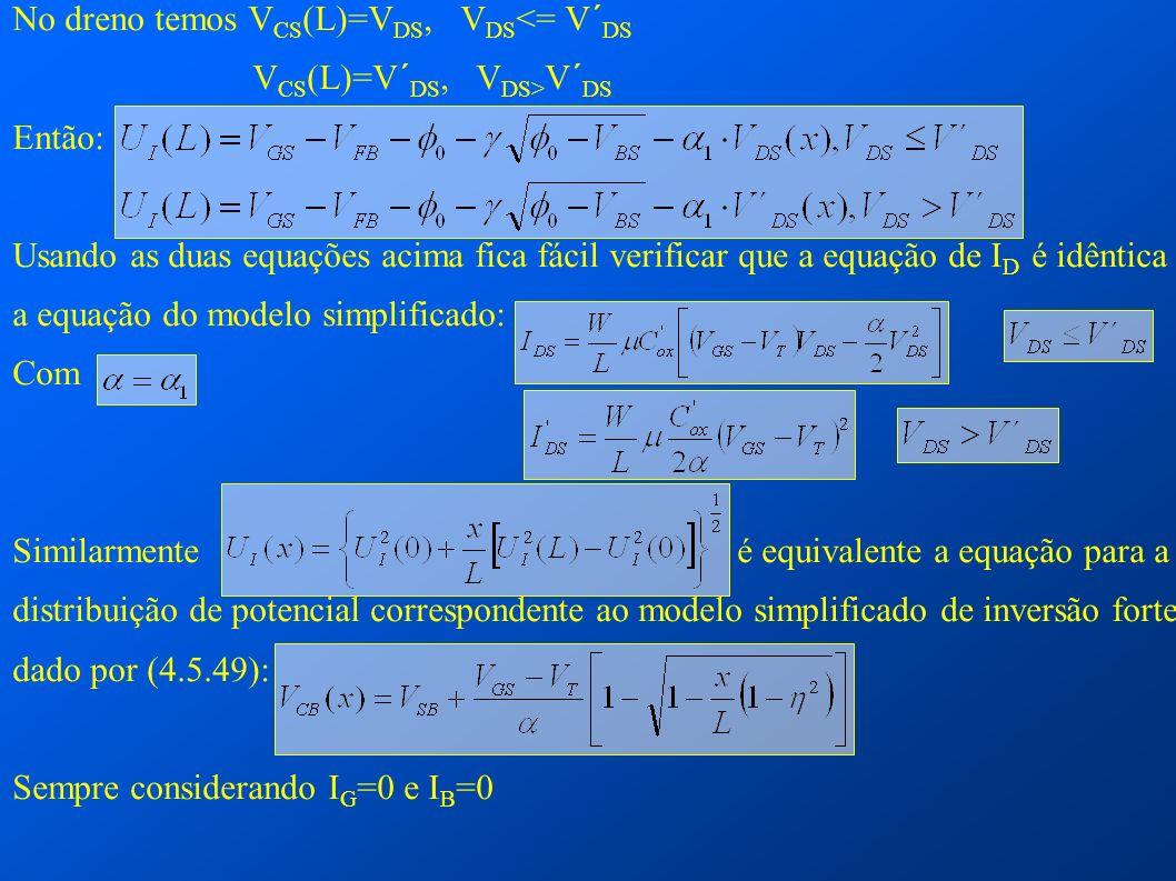 No dreno temos V CS (L)=V DS, V DS <= V´ DS V CS (L)=V´ DS, V DS> V´ DS Então: Usando as duas equações acima fica fácil verificar que a equação de I D