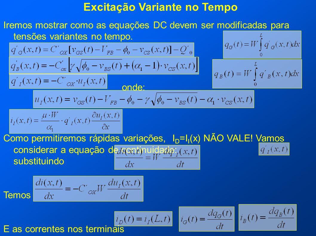 Excitação Variante no Tempo Iremos mostrar como as equações DC devem ser modificadas para tensões variantes no tempo. onde: Como permitiremos rápidas