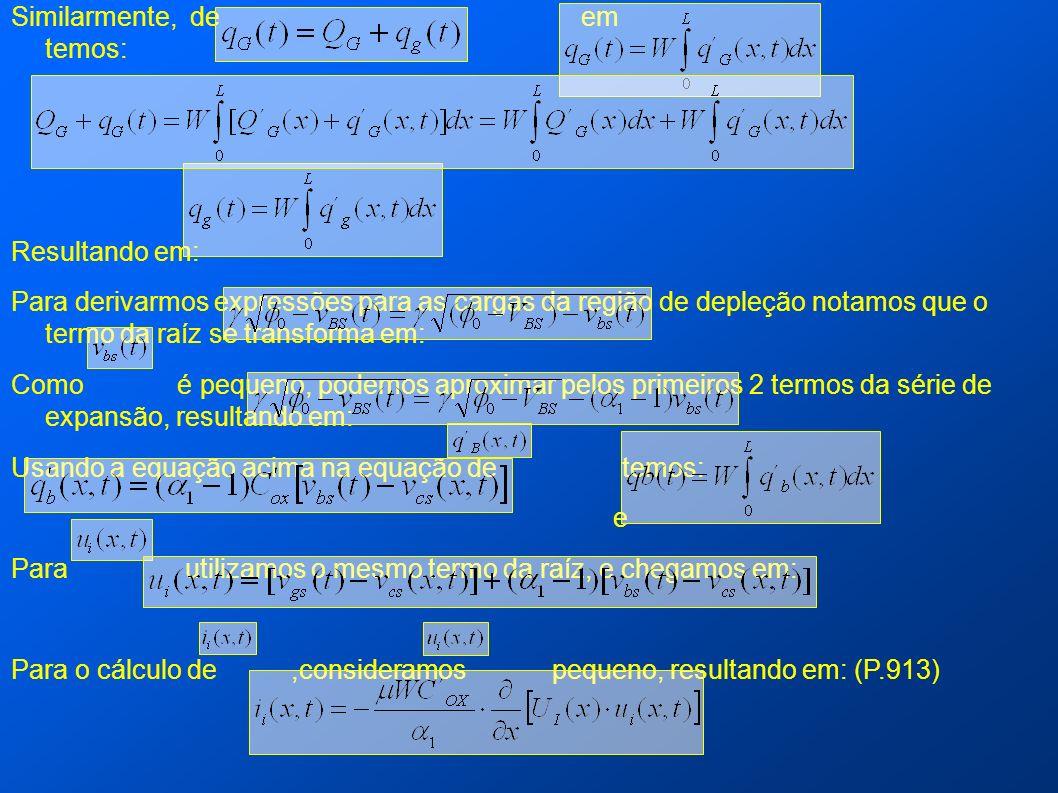 Similarmente, de em temos: Resultando em: Para derivarmos expressões para as cargas da região de depleção notamos que o termo da raíz se transforma em