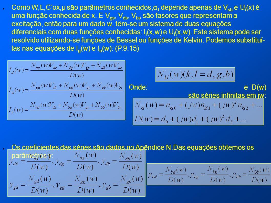 Como W,L,Cox,µ são parâmetros conhecidos,α 1 depende apenas de V sb e U i (x) é uma função conhecida de x. E V gs, V ds, V bs são fasores que represen