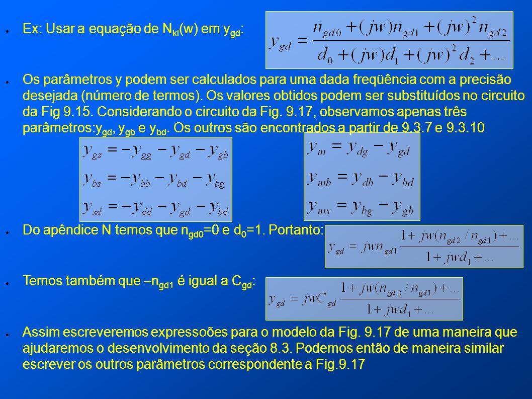 Ex: Usar a equação de N kl (w) em y gd : Os parâmetros y podem ser calculados para uma dada freqüência com a precisão desejada (número de termos). Os