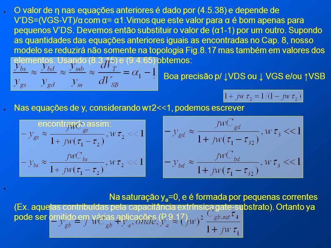 O valor de η nas equações anteriores é dado por (4.5.38) e depende de VDS=(VGS-VT)/α com α= α1.Vimos que este valor para α é bom apenas para pequenos