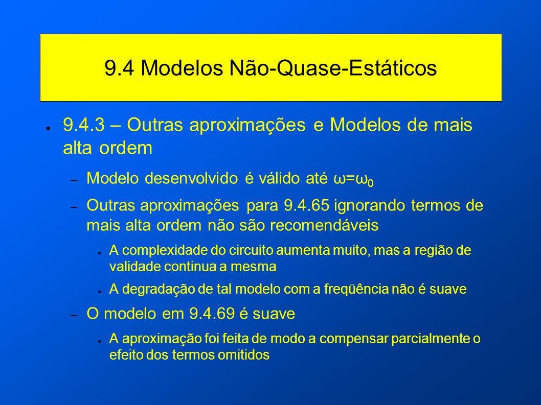 9.4 Modelos Não-Quase-Estáticos 9.4.3 – Outras aproximações e Modelos de mais alta ordem – Modelo desenvolvido é válido até ω=ω 0 – Outras aproximaçõe