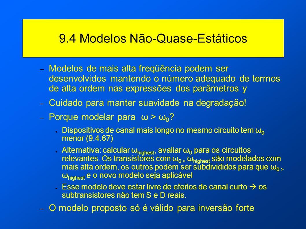 9.4 Modelos Não-Quase-Estáticos – Modelos de mais alta freqüência podem ser desenvolvidos mantendo o número adequado de termos de alta ordem nas expre