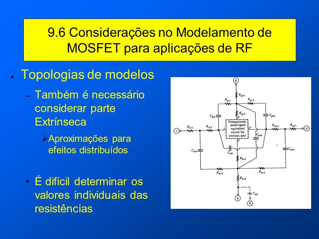 9.6 Considerações no Modelamento de MOSFET para aplicações de RF Topologias de modelos – Também é necessário considerar parte Extrínseca Aproximações