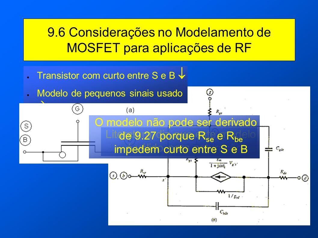 9.6 Considerações no Modelamento de MOSFET para aplicações de RF Transistor com curto entre S e B Modelo de pequenos sinais usado Literatura diz que e