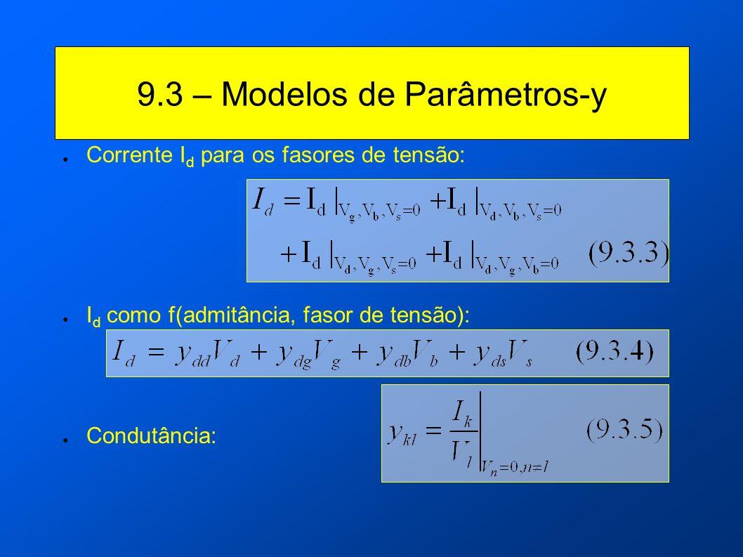 Corrente I d para os fasores de tensão: I d como f(admitância, fasor de tensão): Condutância: 9.3 – Modelos de Parâmetros-y