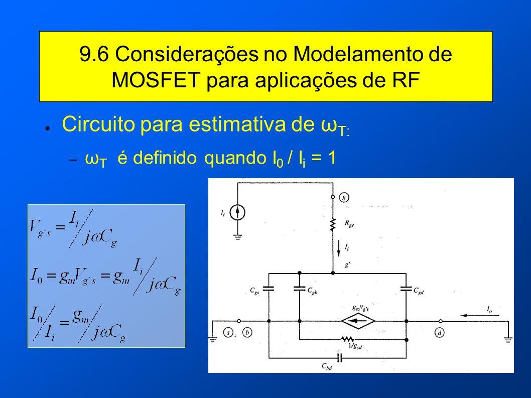 9.6 Considerações no Modelamento de MOSFET para aplicações de RF Circuito para estimativa de ω T: – ω T é definido quando I 0 / I i = 1
