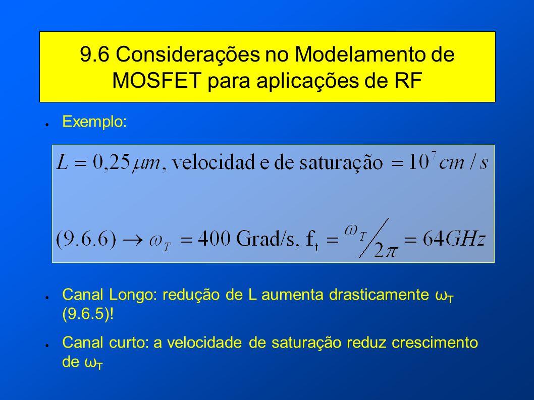 9.6 Considerações no Modelamento de MOSFET para aplicações de RF Exemplo: Canal Longo: redução de L aumenta drasticamente ω T (9.6.5)! Canal curto: a
