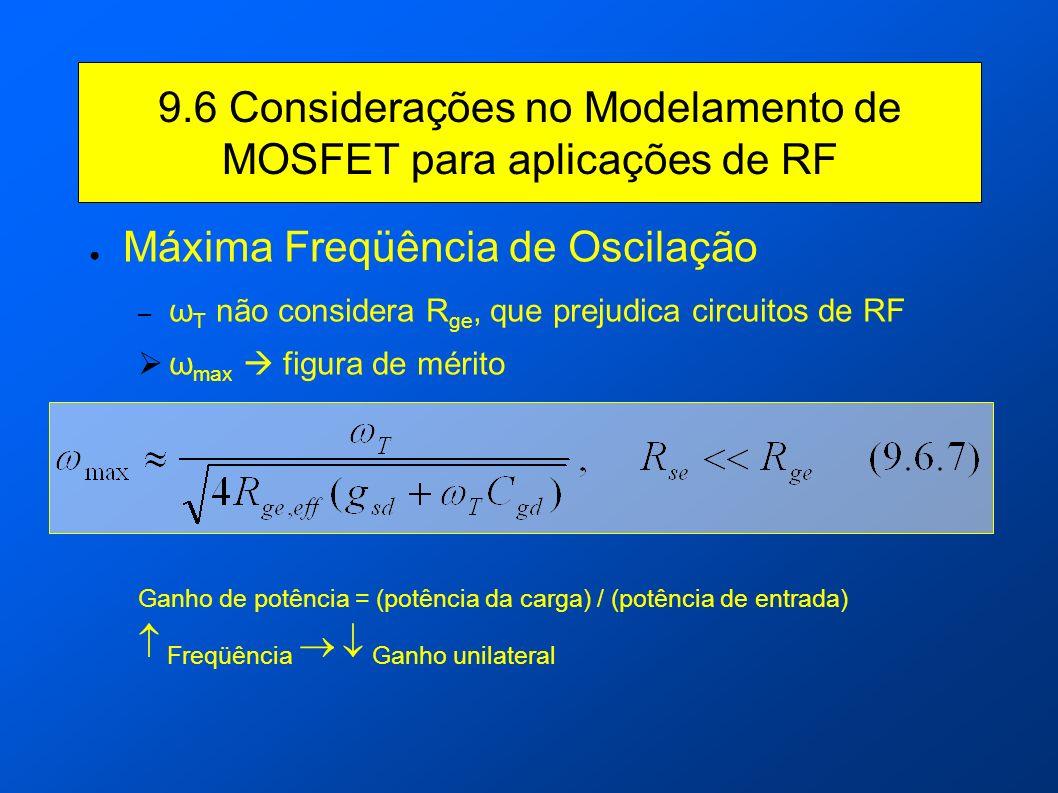 9.6 Considerações no Modelamento de MOSFET para aplicações de RF Máxima Freqüência de Oscilação – ω T não considera R ge, que prejudica circuitos de R