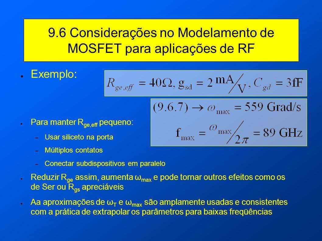 9.6 Considerações no Modelamento de MOSFET para aplicações de RF Exemplo: Para manter R ge,eff pequeno: – Usar siliceto na porta – Múltiplos contatos