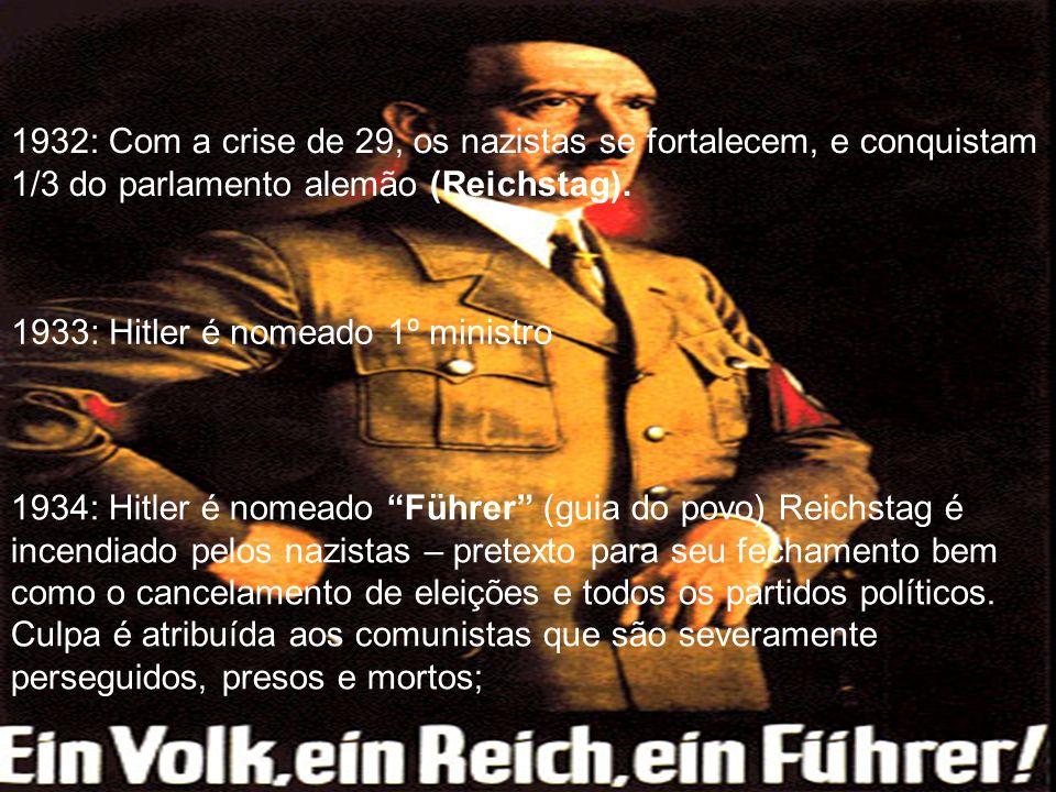 1932: Com a crise de 29, os nazistas se fortalecem, e conquistam 1/3 do parlamento alemão (Reichstag). 1933: Hitler é nomeado 1º ministro 1934: Hitler