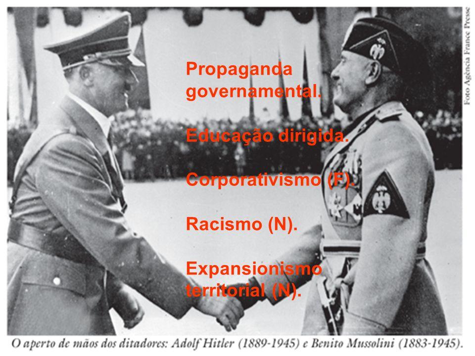 Propaganda governamental. Educação dirigida. Corporativismo (F). Racismo (N). Expansionismo territorial (N).
