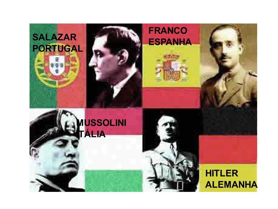 SALAZAR PORTUGAL FRANCO ESPANHA MUSSOLINI ITÁLIA HITLER ALEMANHA