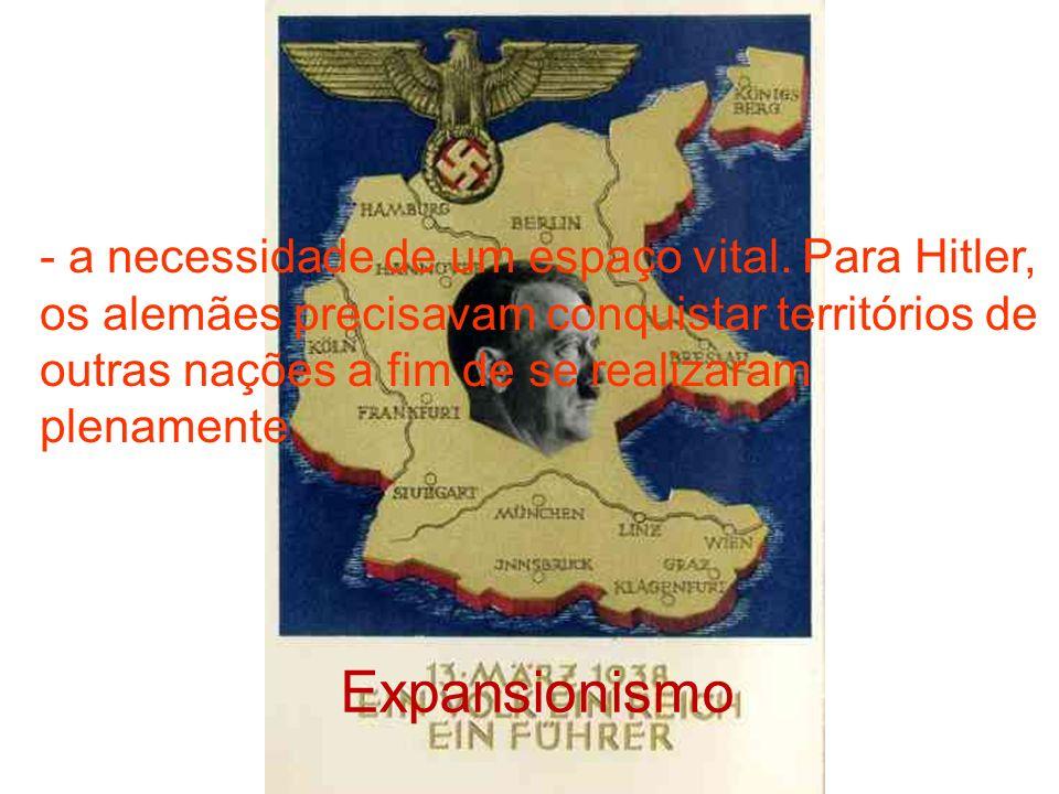 Expansionismo - a necessidade de um espaço vital. Para Hitler, os alemães precisavam conquistar territórios de outras nações a fim de se realizaram pl