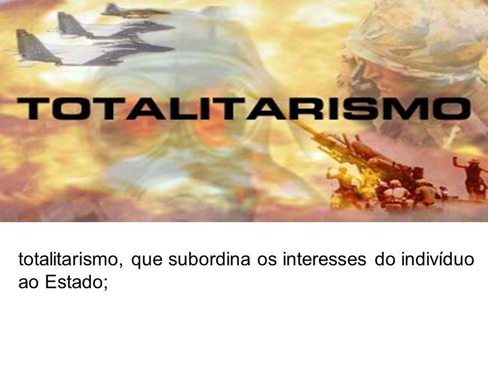 - nacionalismo exaltação do país italiano que coloca como país supremo em termos de desenvolvimento; totalitarismo, que subordina os interesses do ind