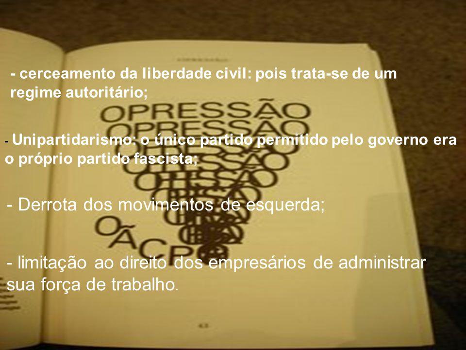 - cerceamento da liberdade civil: pois trata-se de um regime autoritário; - Unipartidarismo: o único partido permitido pelo governo era o próprio part