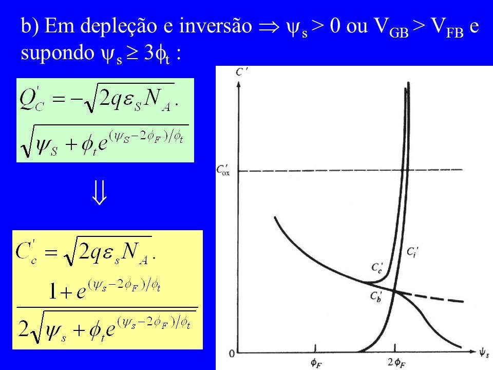 b) Em depleção e inversão s > 0 ou V GB > V FB e supondo s 3 t :