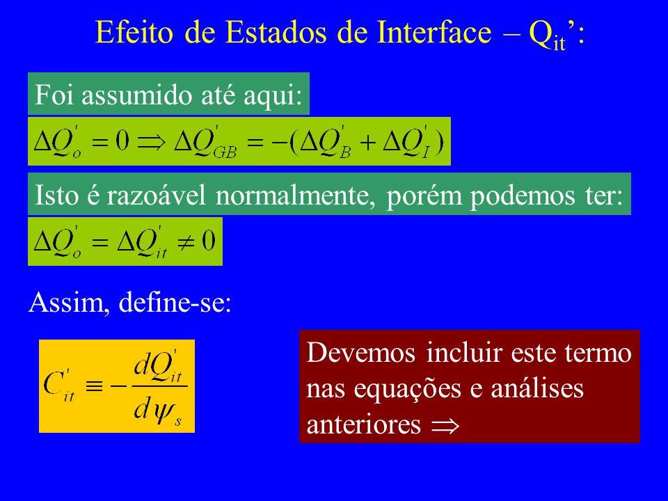 Efeito de Estados de Interface – Q it : Foi assumido até aqui: Isto é razoável normalmente, porém podemos ter: Assim, define-se: Devemos incluir este termo nas equações e análises anteriores