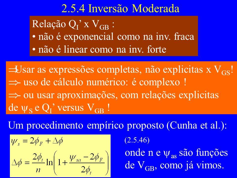 2.5.4 Inversão Moderada Relação Q I x V GB : não é exponencial como na inv. fraca não é linear como na inv. forte Usar as expressões completas, não ex