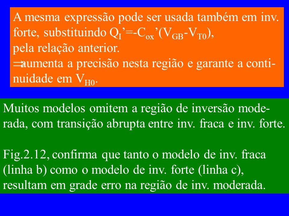 A mesma expressão pode ser usada também em inv. forte, substituindo Q I =-C ox (V GB -V T0 ), pela relação anterior. aumenta a precisão nesta região e