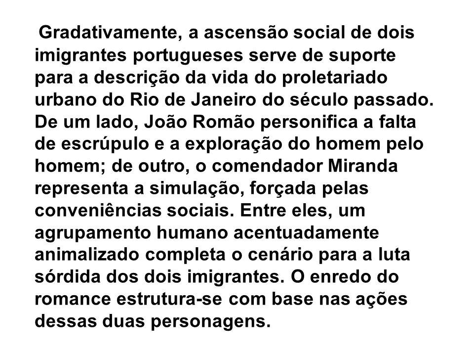 Gradativamente, a ascensão social de dois imigrantes portugueses serve de suporte para a descrição da vida do proletariado urbano do Rio de Janeiro do