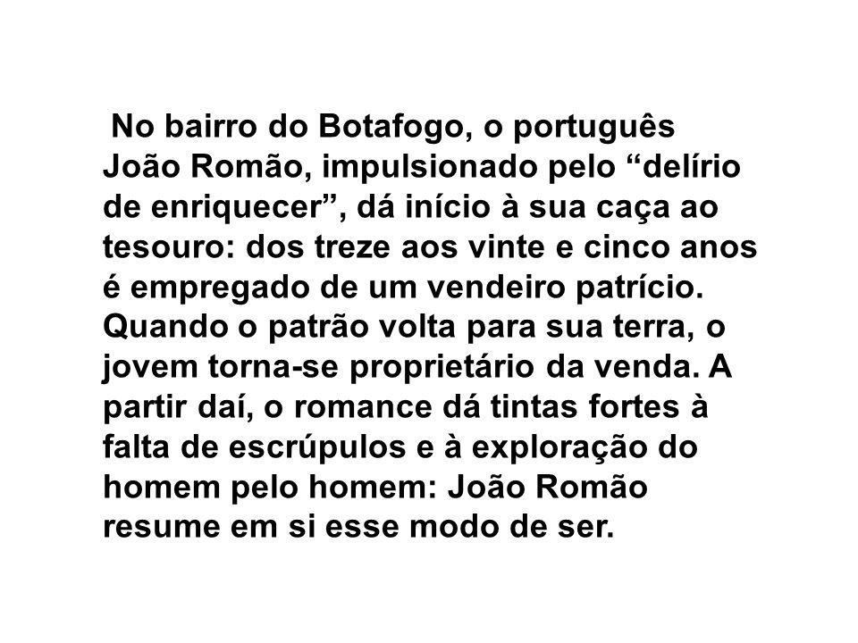 No bairro do Botafogo, o português João Romão, impulsionado pelo delírio de enriquecer, dá início à sua caça ao tesouro: dos treze aos vinte e cinco a