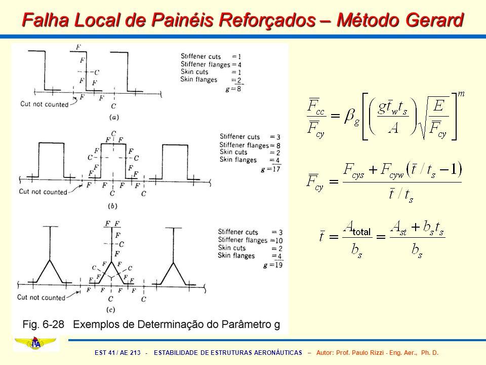 EST 41 / AE 213 - ESTABILIDADE DE ESTRUTURAS AERONÁUTICAS – Autor: Prof. Paulo Rizzi - Eng. Aer., Ph. D. Falha Local de Painéis Reforçados – Método Ge