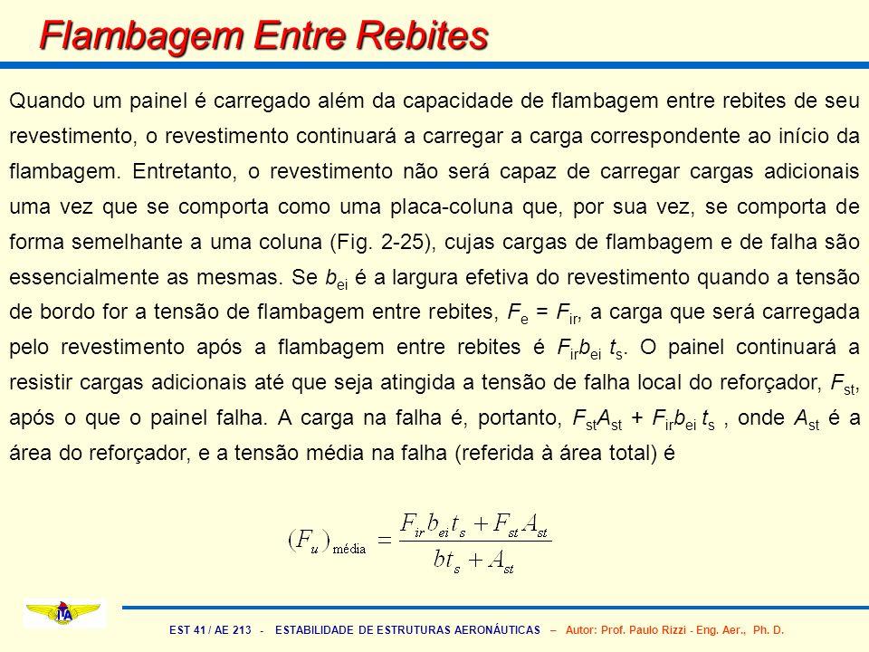 EST 41 / AE 213 - ESTABILIDADE DE ESTRUTURAS AERONÁUTICAS – Autor: Prof. Paulo Rizzi - Eng. Aer., Ph. D. Flambagem Entre Rebites Quando um painel é ca