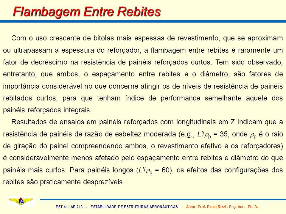 EST 41 / AE 213 - ESTABILIDADE DE ESTRUTURAS AERONÁUTICAS – Autor: Prof. Paulo Rizzi - Eng. Aer., Ph. D. Flambagem Entre Rebites Com o uso crescente d