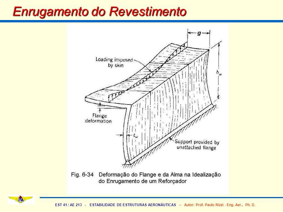 EST 41 / AE 213 - ESTABILIDADE DE ESTRUTURAS AERONÁUTICAS – Autor: Prof. Paulo Rizzi - Eng. Aer., Ph. D. Enrugamento do Revestimento