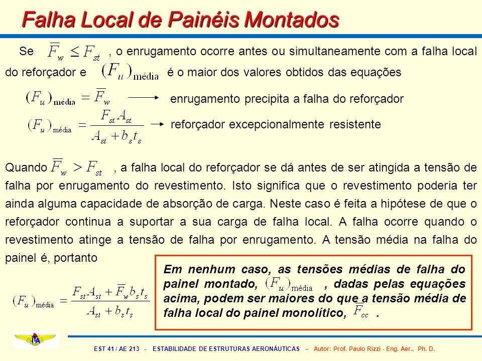 EST 41 / AE 213 - ESTABILIDADE DE ESTRUTURAS AERONÁUTICAS – Autor: Prof. Paulo Rizzi - Eng. Aer., Ph. D. Falha Local de Painéis Montados Se, o enrugam