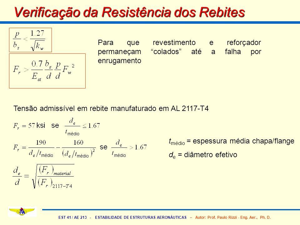 EST 41 / AE 213 - ESTABILIDADE DE ESTRUTURAS AERONÁUTICAS – Autor: Prof. Paulo Rizzi - Eng. Aer., Ph. D. Verificação da Resistência dos Rebites Para q