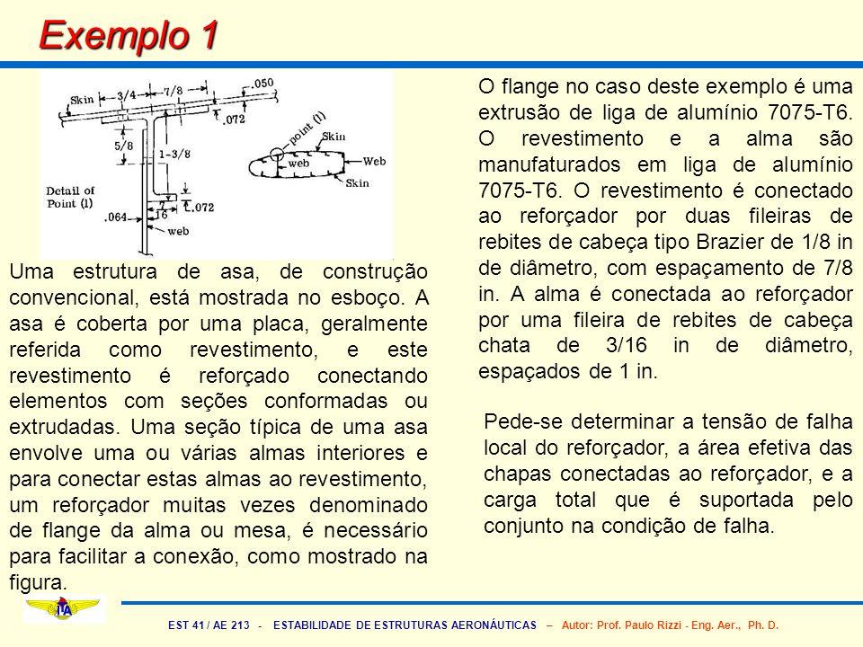 EST 41 / AE 213 - ESTABILIDADE DE ESTRUTURAS AERONÁUTICAS – Autor: Prof. Paulo Rizzi - Eng. Aer., Ph. D. Exemplo 1 Uma estrutura de asa, de construção