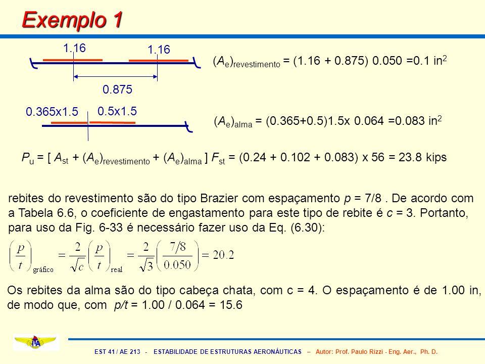 EST 41 / AE 213 - ESTABILIDADE DE ESTRUTURAS AERONÁUTICAS – Autor: Prof. Paulo Rizzi - Eng. Aer., Ph. D. Exemplo 1 0.875 1.16 (A e ) revestimento = (1