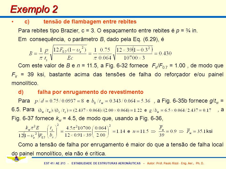 EST 41 / AE 213 - ESTABILIDADE DE ESTRUTURAS AERONÁUTICAS – Autor: Prof. Paulo Rizzi - Eng. Aer., Ph. D. Exemplo 2 c) tensão de flambagem entre rebite