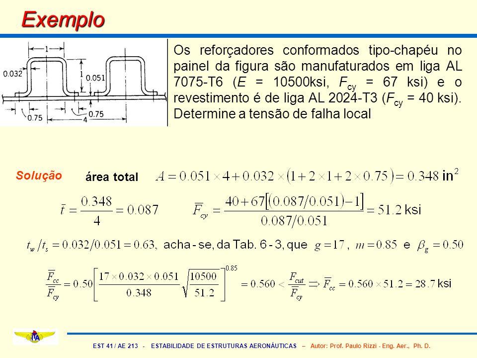 EST 41 / AE 213 - ESTABILIDADE DE ESTRUTURAS AERONÁUTICAS – Autor: Prof. Paulo Rizzi - Eng. Aer., Ph. D. Exemplo Os reforçadores conformados tipo-chap