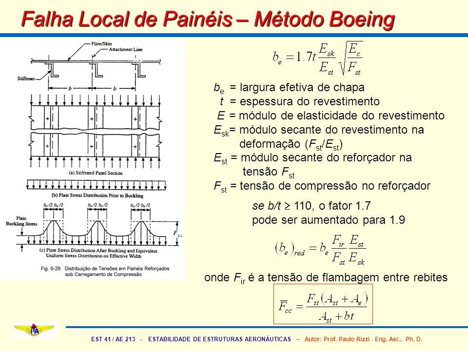 EST 41 / AE 213 - ESTABILIDADE DE ESTRUTURAS AERONÁUTICAS – Autor: Prof. Paulo Rizzi - Eng. Aer., Ph. D. Falha Local de Painéis – Método Boeing b e =