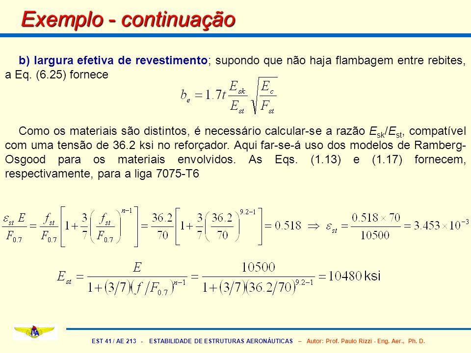 EST 41 / AE 213 - ESTABILIDADE DE ESTRUTURAS AERONÁUTICAS – Autor: Prof. Paulo Rizzi - Eng. Aer., Ph. D. Exemplo - continuação b) largura efetiva de r