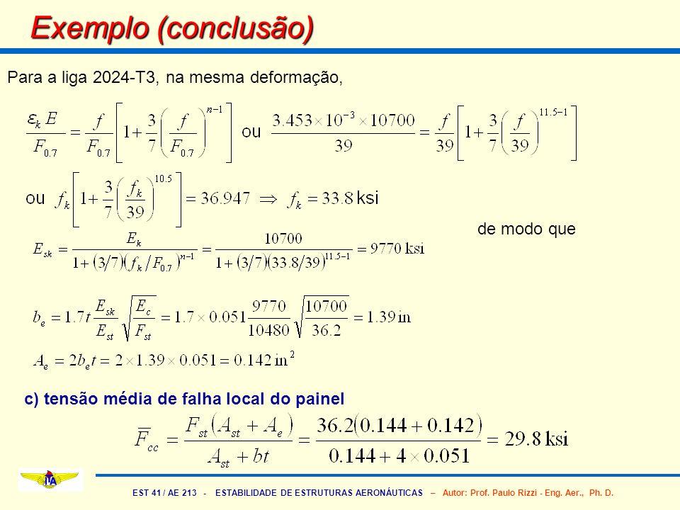 EST 41 / AE 213 - ESTABILIDADE DE ESTRUTURAS AERONÁUTICAS – Autor: Prof. Paulo Rizzi - Eng. Aer., Ph. D. Exemplo (conclusão) Para a liga 2024-T3, na m