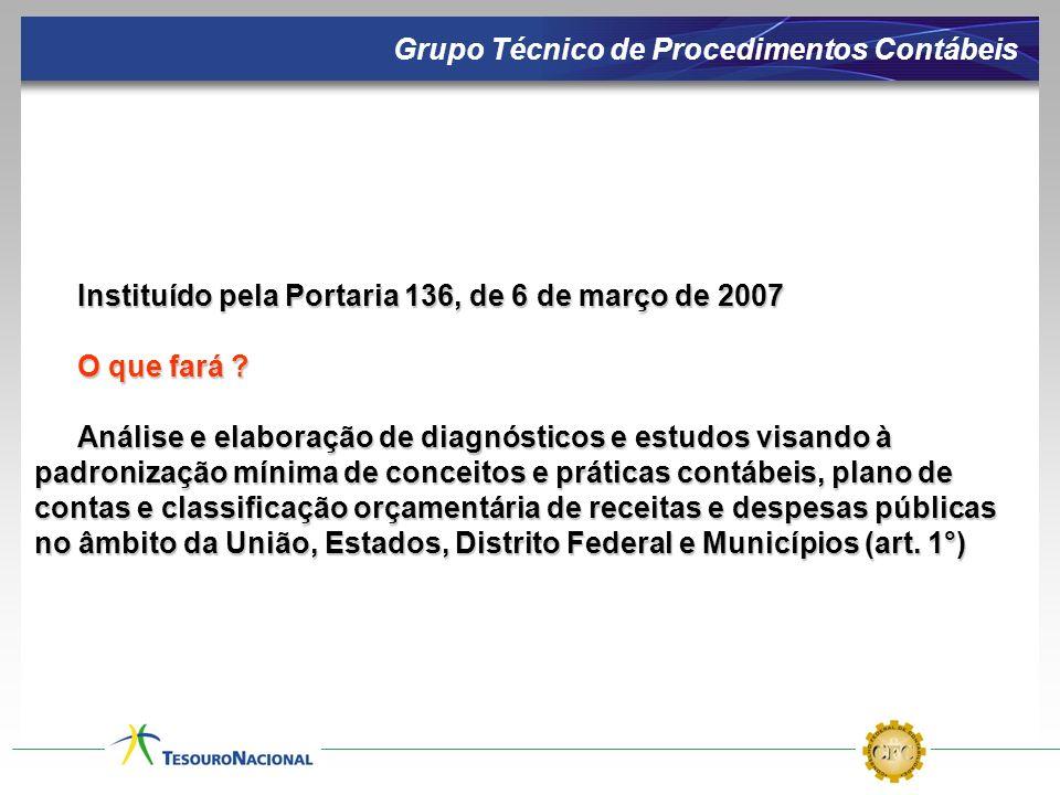 Instituído pela Portaria 136, de 6 de março de 2007 O que fará ? Análise e elaboração de diagnósticos e estudos visando à padronização mínima de conce