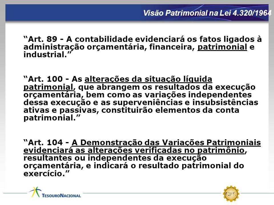 Visão Patrimonial na Lei 4.320/1964 Art. 89 - A contabilidade evidenciará os fatos ligados à administração orçamentária, financeira, patrimonial e ind