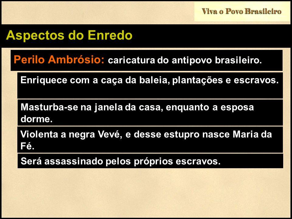 Viva o Povo Brasileiro Aspectos do Enredo Perilo Ambrósio: caricatura do antipovo brasileiro. Enriquece com a caça da baleia, plantações e escravos. M