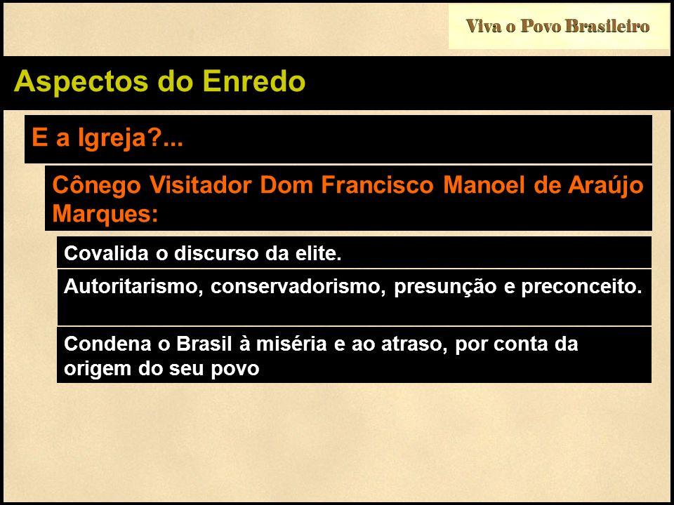 Viva o Povo Brasileiro Aspectos do Enredo E a Igreja?... Cônego Visitador Dom Francisco Manoel de Araújo Marques: Covalida o discurso da elite. Autori