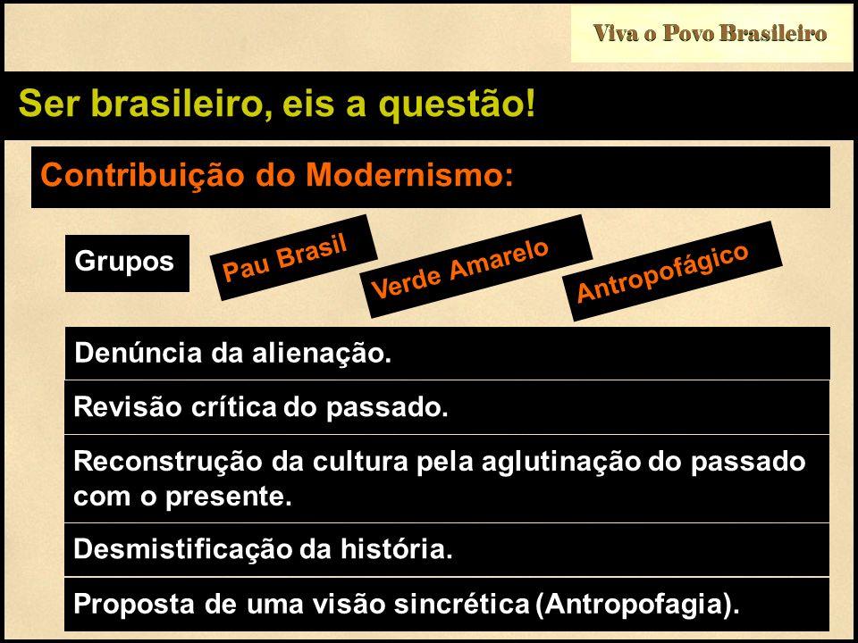 Viva o Povo Brasileiro Ser brasileiro, eis a questão! Contribuição do Modernismo: Grupos Pau Brasil Verde Amarelo Denúncia da alienação. Antropofágico