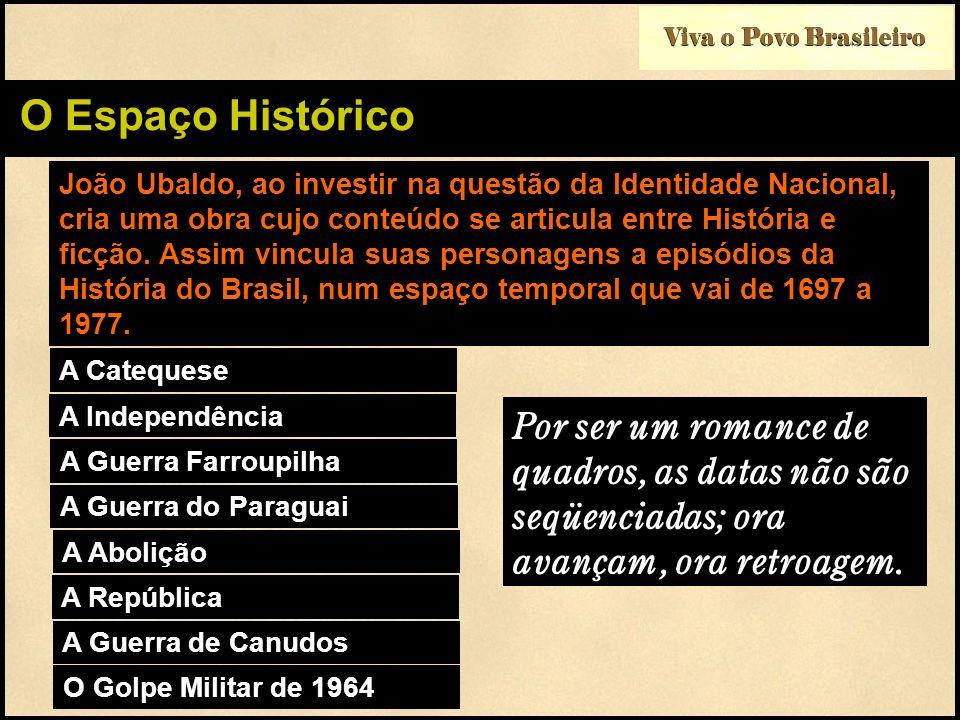 Viva o Povo Brasileiro O Espaço Histórico João Ubaldo, ao investir na questão da Identidade Nacional, cria uma obra cujo conteúdo se articula entre Hi