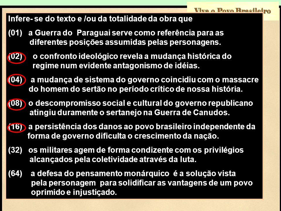 Viva o Povo Brasileiro Infere- se do texto e /ou da totalidade da obra que (01) a Guerra do Paraguai serve como referência para as aaaaaa a diferentes
