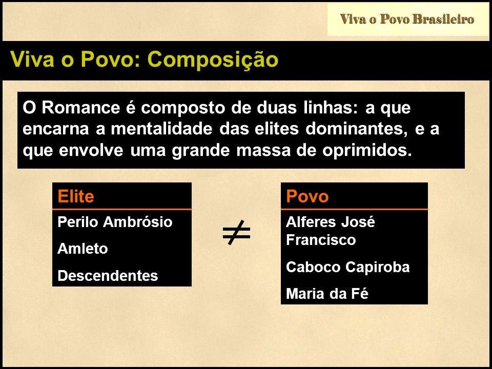 Viva o Povo Brasileiro Viva o Povo: Composição O Romance é composto de duas linhas: a que encarna a mentalidade das elites dominantes, e a que envolve
