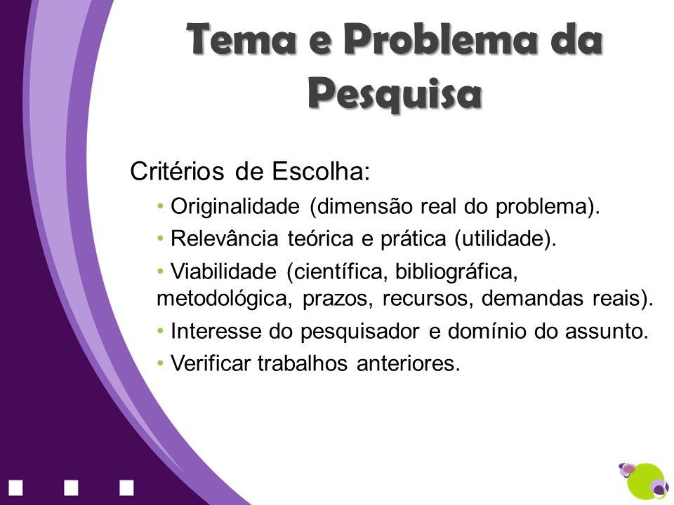 Tema e Problema da Pesquisa Critérios de Escolha: Originalidade (dimensão real do problema). Relevância teórica e prática (utilidade). Viabilidade (ci